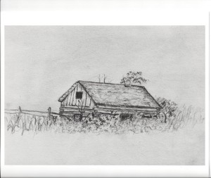 Drawing of the Gibbs soddy by family member Lily Gibbs. RCHS Collection photo.