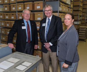 Jay Pfaender, RCHS Editor John Lindly, and Curator Mollie Spillman in the archival stacks at the Mary Livingston Griggs and Mary Griggs Burke Research Center.